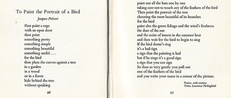 """Scan of the beginning and end of the poem, """"To Paint the Portrait of a Bird"""" from David Mackay's, """"A Flock of Words"""""""