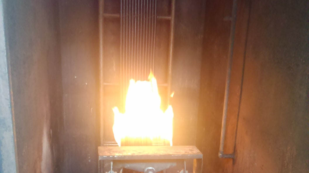 Fire testing of railway cables at the test lab of the customer.