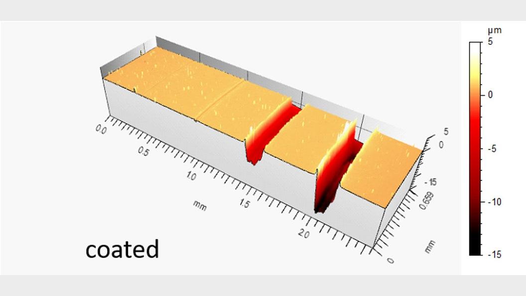 Weisslichtinterferometriebild der Kratzspuren nach dem Versuch: Beschichtete Probe