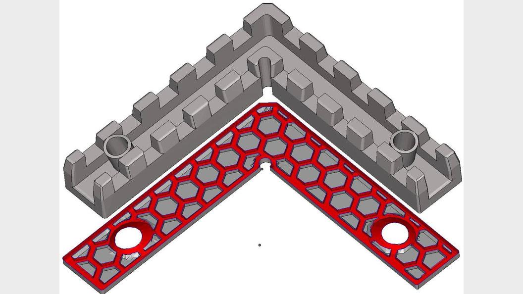 Abb.2b) Schnittbild optimierte Geometrie inkl. Wabenstruktur