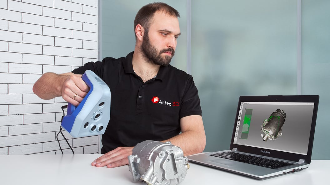 Scanning an automotive component with the Artec Space Spider