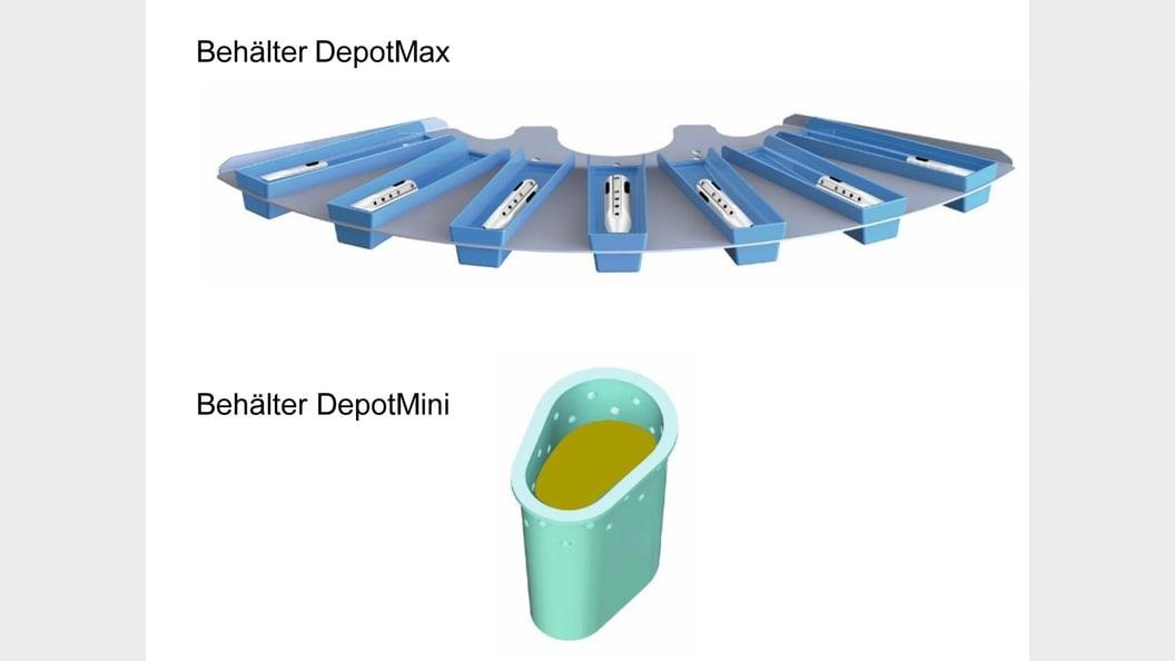 Werkstücke sind einzeln (DepotMax) oder in Öl (DepotMini) abgelegt.