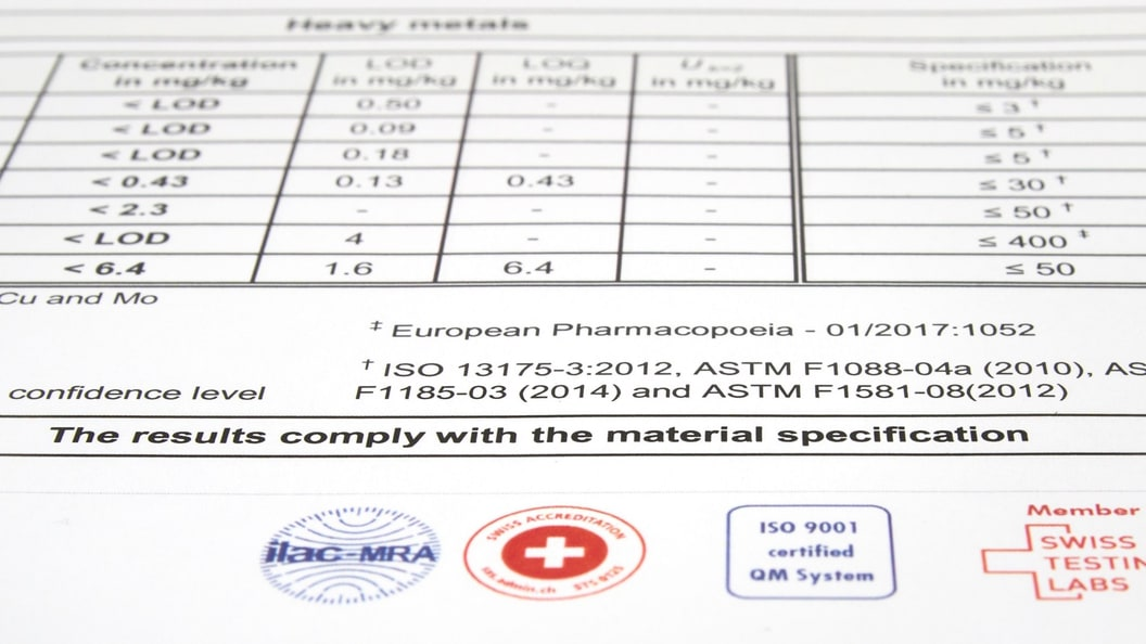 Test certificate demonstrating compliance with trace element limits in international standards.