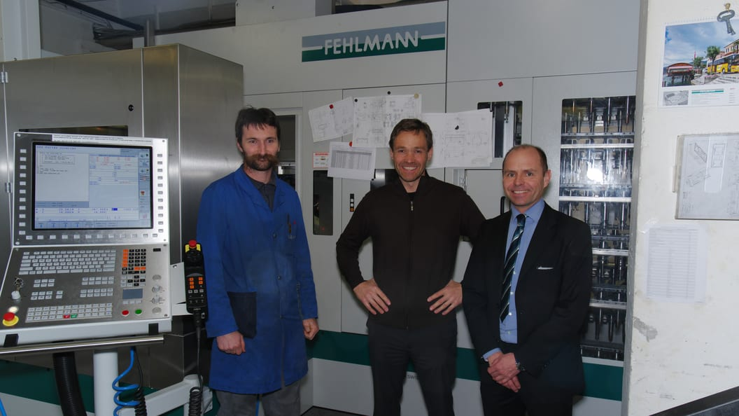 L: Gérald Truan/Bediener VERSA825; Thierry Keist/Marketing Trimos; Martial Marmy/Verkauf Fehlmann AG