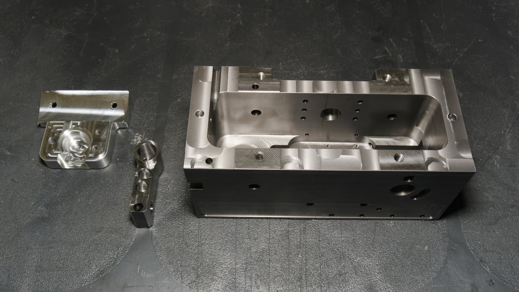 Precision parts manufactured on VERSA 825. With Robot Multi, the machine can operate continuously