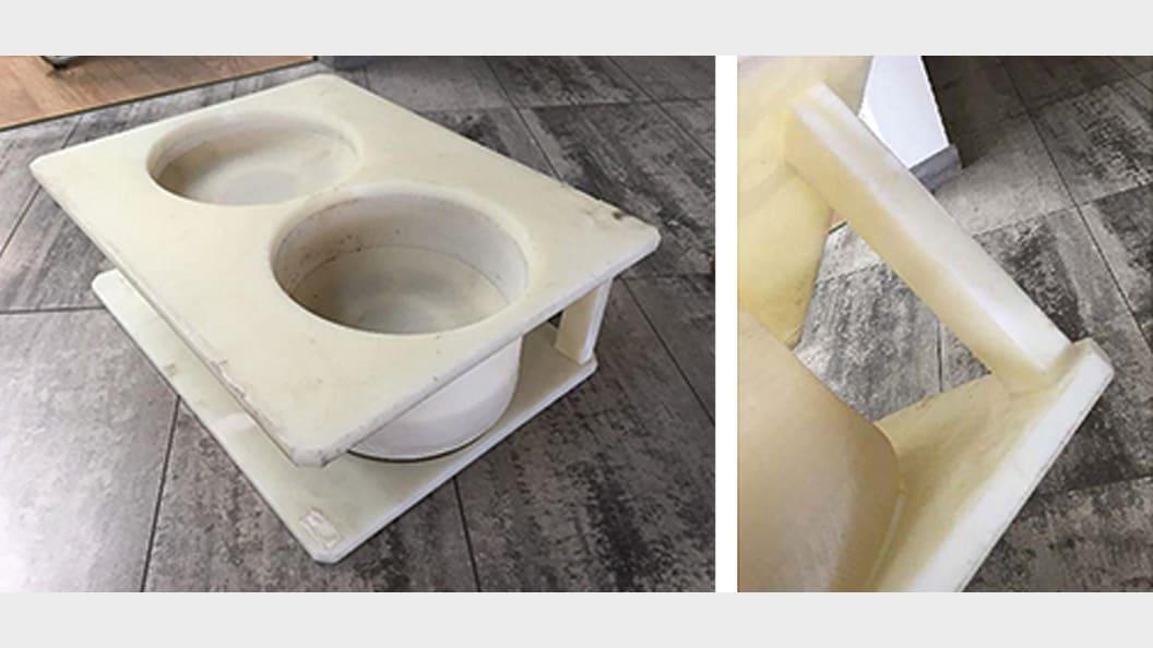 Verklebung von Stützhalterung an Käsegussform