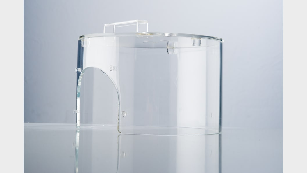 Machine cover made from acrylic glass, polycarbonate or PET-G.