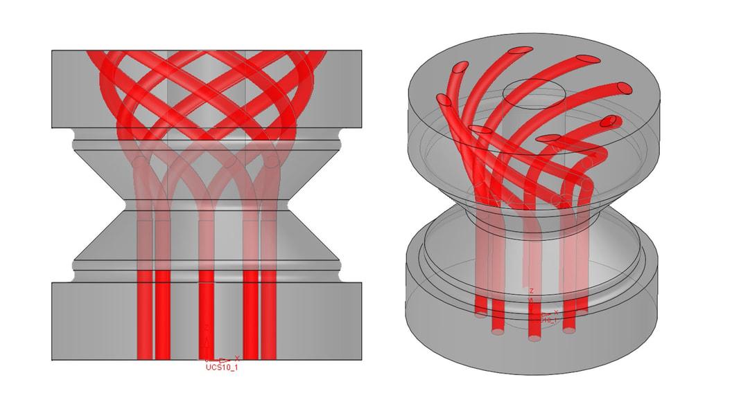 Spiralförmige Antriebsbohrung im Innern