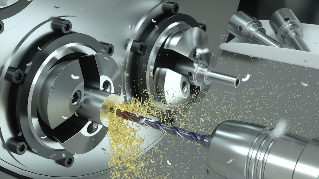 Effizientes Bohren von Dampfventilen aus rostfreiem Stahl dank massiver Kühlung an den Schneiden.