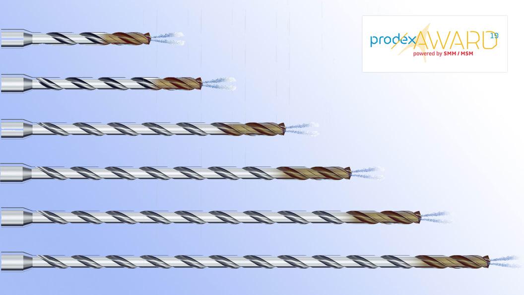 Eine komplette Bohrerfamilie für Bohrungen in Inox, ab Durchmesser 1 mm und für Bohrtiefen bis 40xd.