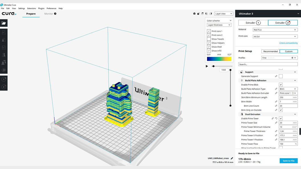 Print preparation in Ultimaker Cura with more than 300 different settings