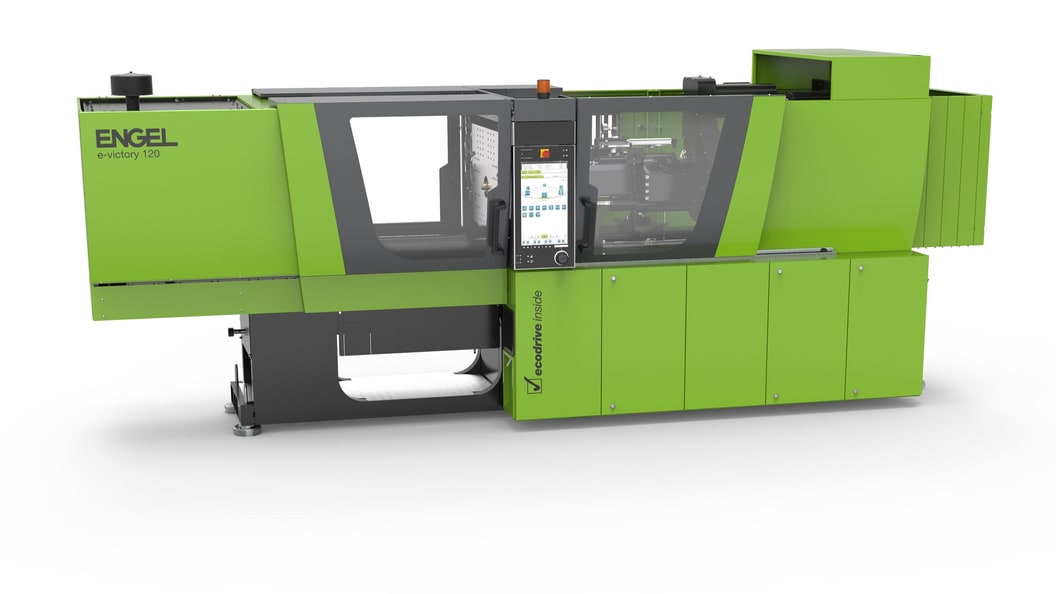 The tie-bar-less injection moulding machine with precise servo-electric injection unit.
