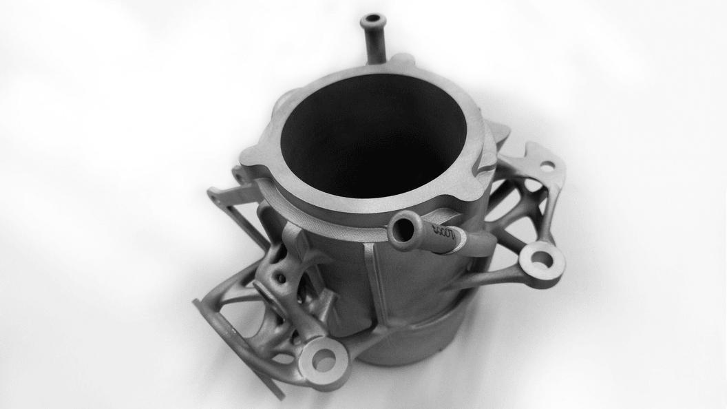 Additiv gefertigter Radträger vor der Nachbearbeitung