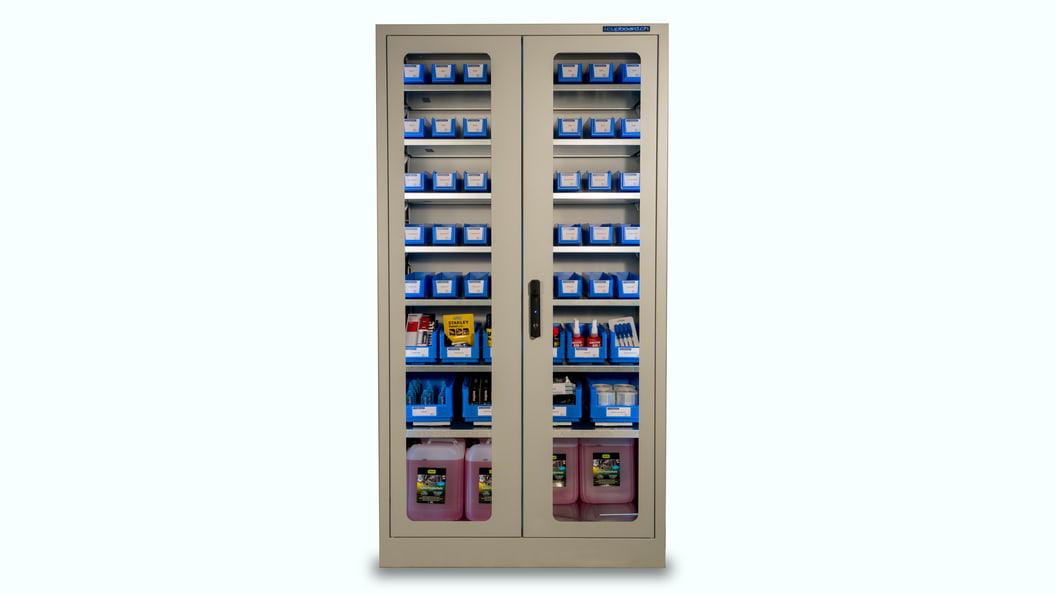 i.Cupboard, transparent mit Glastüren und LED Beleuchtung