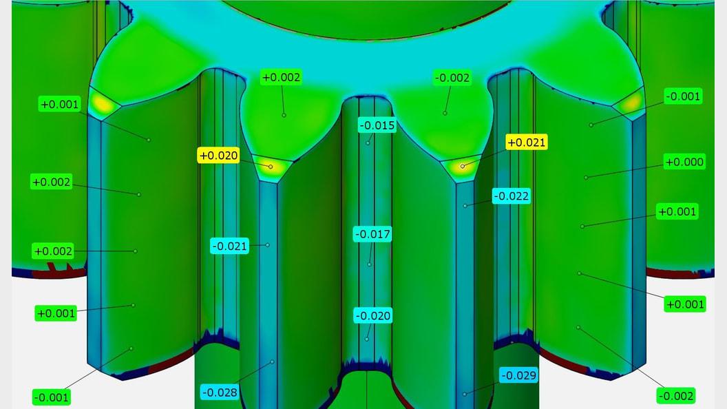 Beispiel eines Datenvergleichs von internen Messungen mit den 3D-CAD-Daten