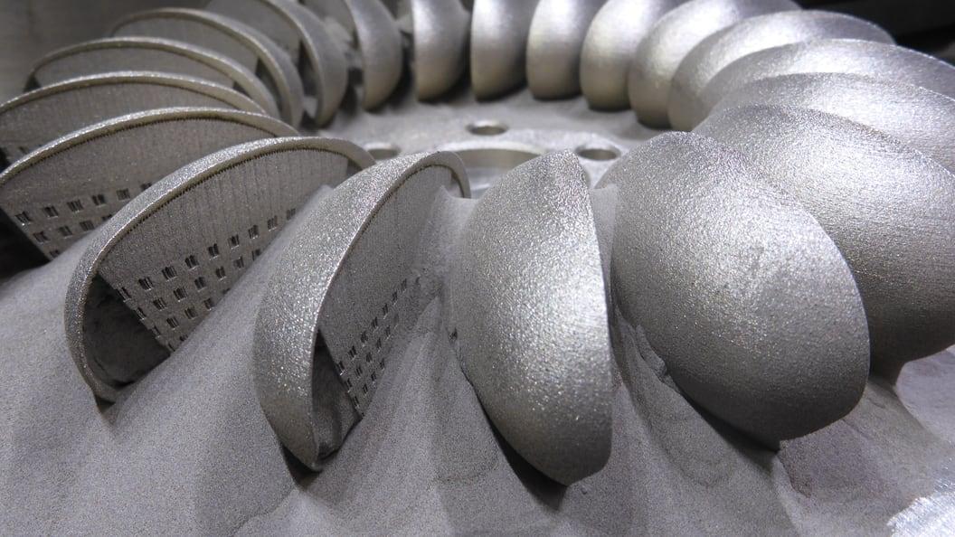 Fertig gedruckte Turbinenradhälfte