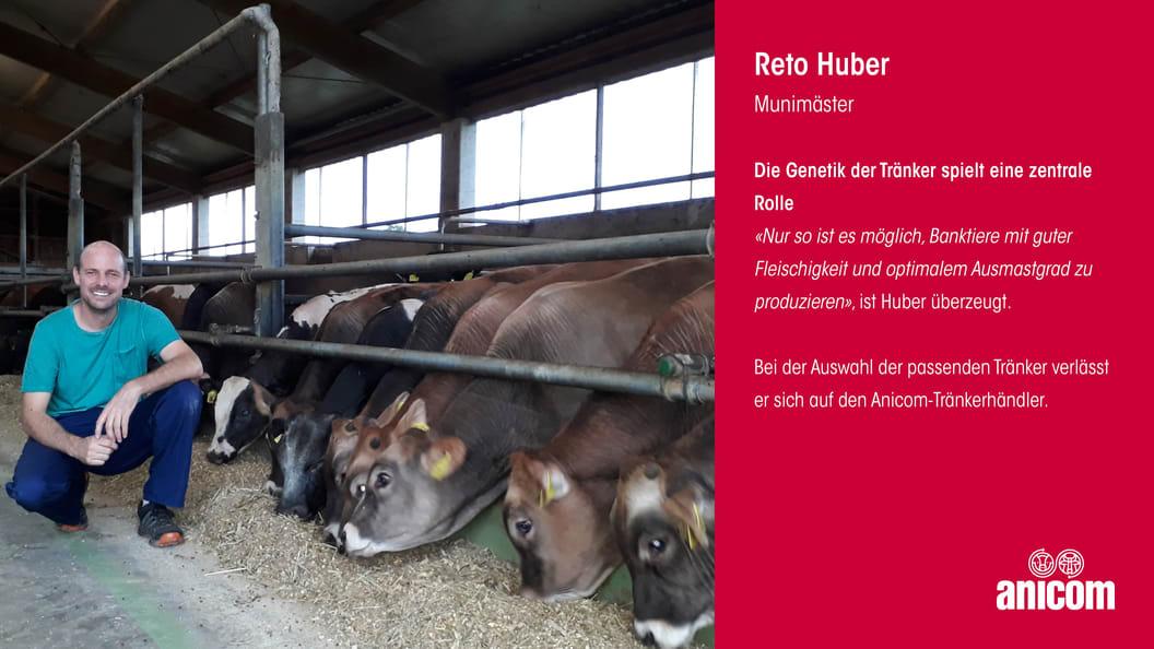 Munimäster Reto Huber verlässt sich bei der Auswahl der Tränker auf seinen Anicom-Tränkerhändler.