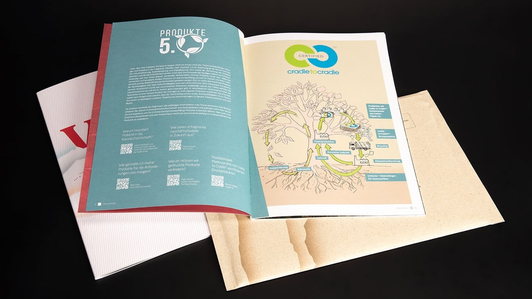 Sustainability topics are highlighted in the magazine