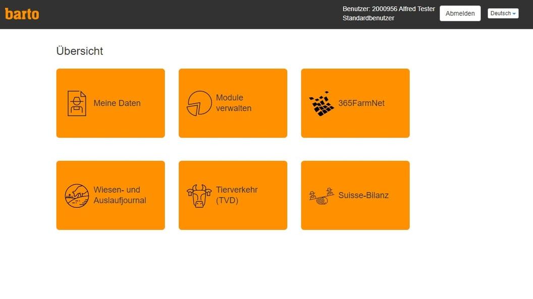 Dashboard Barto - ein Klick auf 365FarmNet und der Account wird erstellt