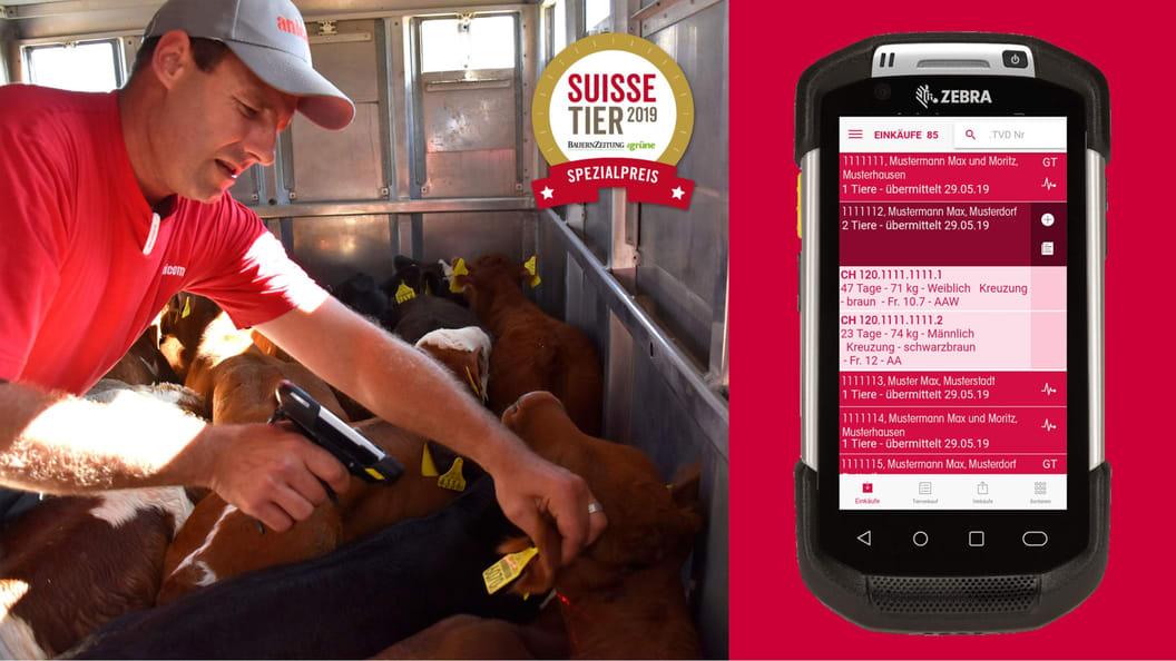 Anicom-Tränkerhändler nutzen einen Scanner, welcher mit der Tierverkehrsdatenbank verknüpft ist