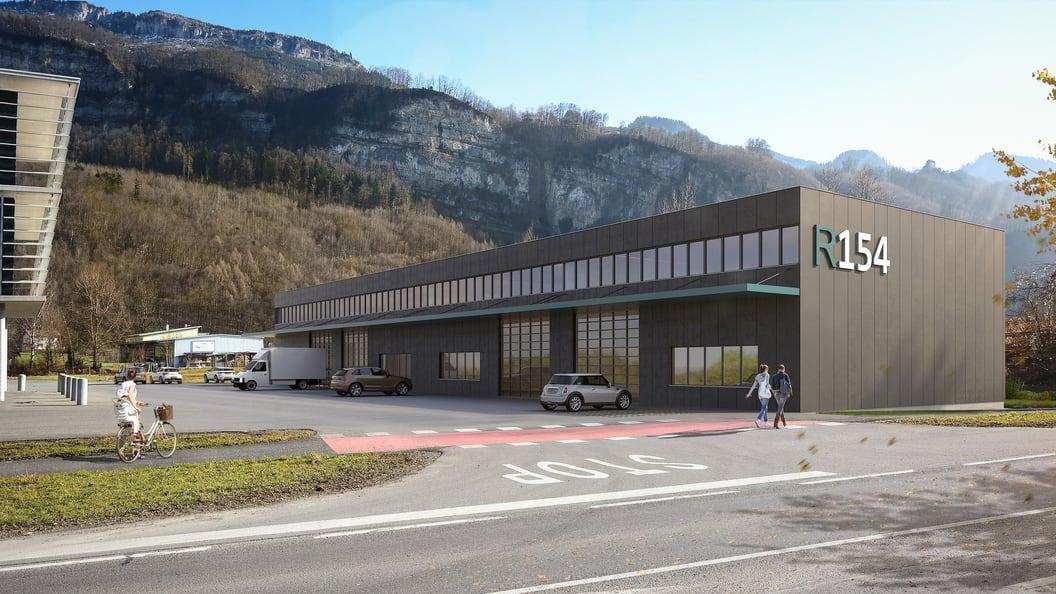 Unser Gebäude R154 in Hohenems, Höhe Flugplatz Hohenems / Dornbirn mit großem Automatenschauraum.