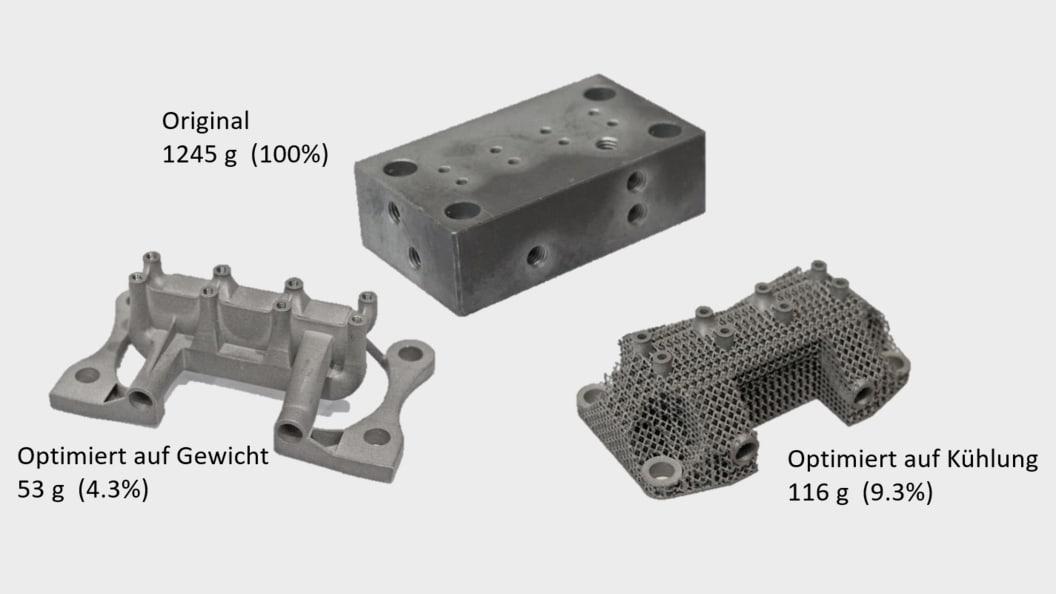 Optimierung Hydraulikblock (1.4404) - Reduktion auf Funktionen (Gewicht und Kühlung)