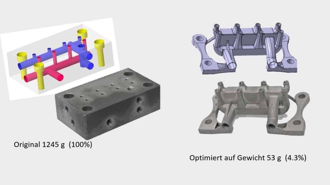 Optimierung Hydraulikblock (1.4404) - Reduktion auf Funktionen (Gewicht)