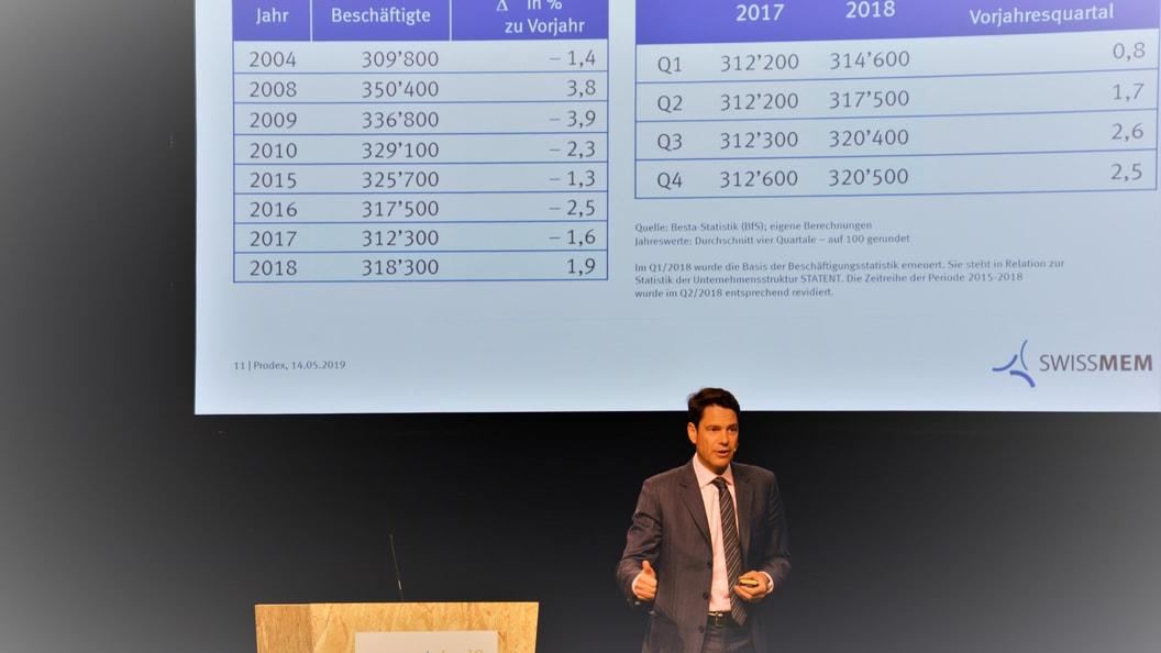 Swissmem Direktor Stephan Brupbacher präsentiert die Quartalszahlen