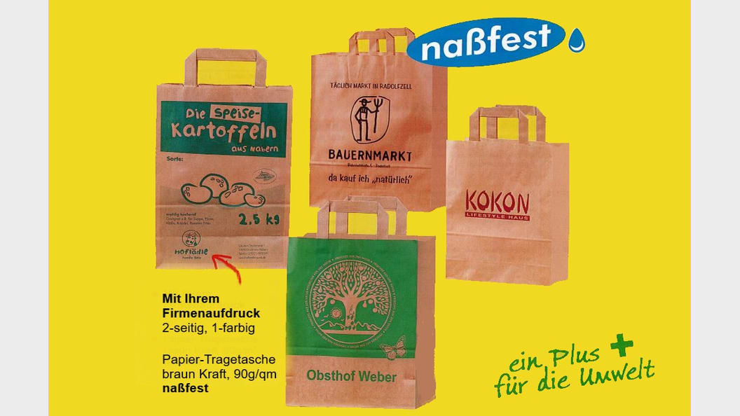 Paper carrier bags wet-proof with your logo