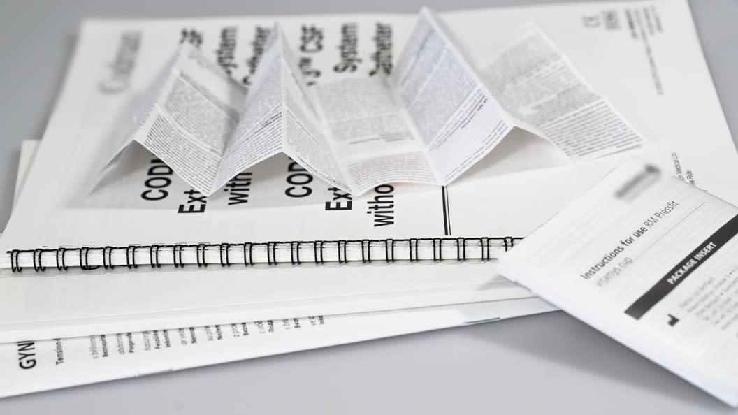 Leaflets, Booklets, Klebebindung, Wiro-Bindung, Rückstichheftung