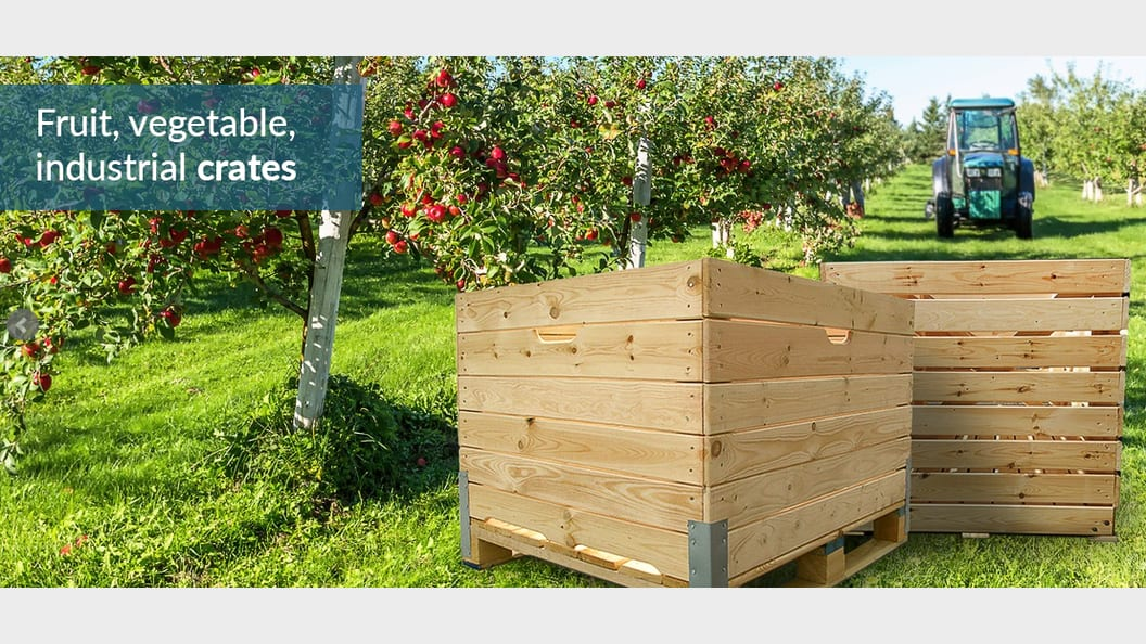 Large wooden boxes for fruit and vegetables