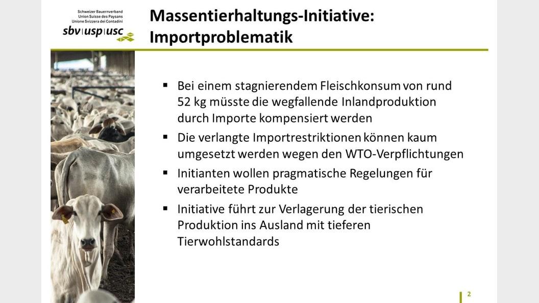 Massentierhaltungs-Initiative: Importproblematik