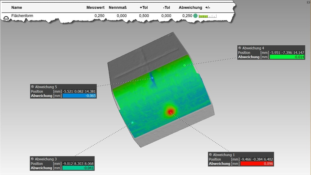 Example: Visualization of the surface shape in the 3D view