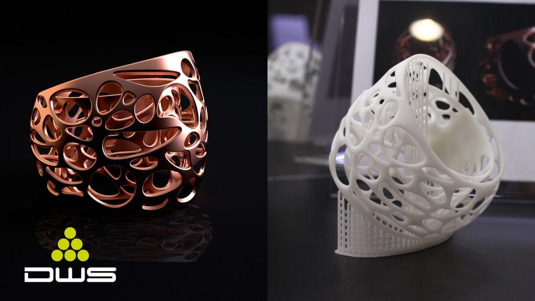 Bracelet with reinforcement system and telephone holder - printed with SLA 3D printer DWS-Systems