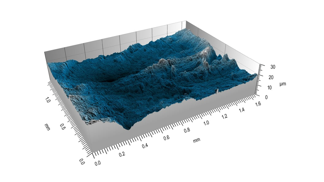 Figure 1: Topography of a scratched (3rd-body wear) polymer implant after explantation