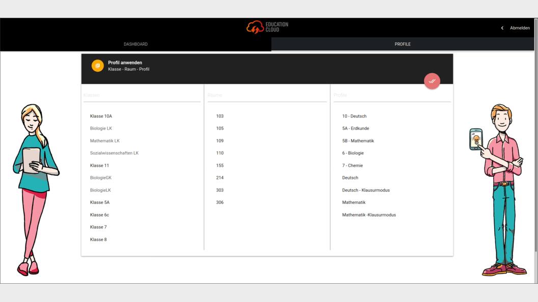 EDU Control App: Auswahl der gewünschten Konfiguration