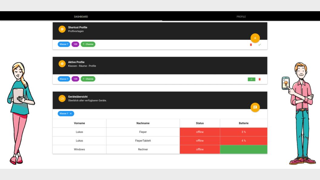 EDU Control App: Übersicht der aktiven Konfiguration und der aktiven digitalen Geräte