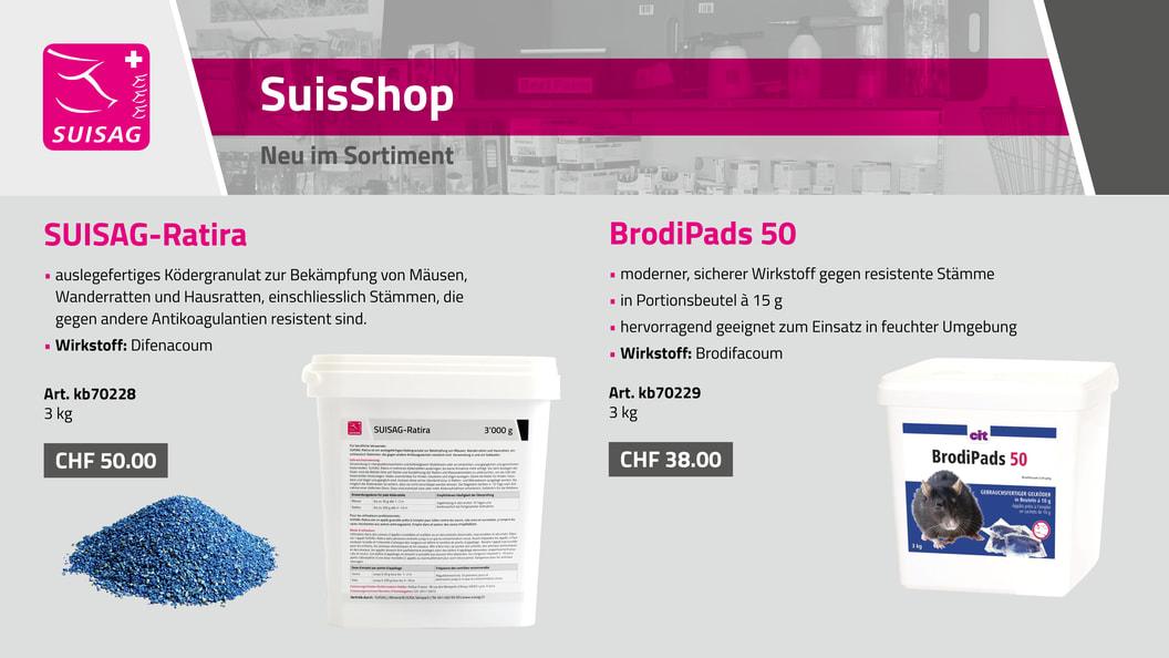 SUISAG-Ratira & BrodiPads: Effizient gegen Mäuse und Ratten
