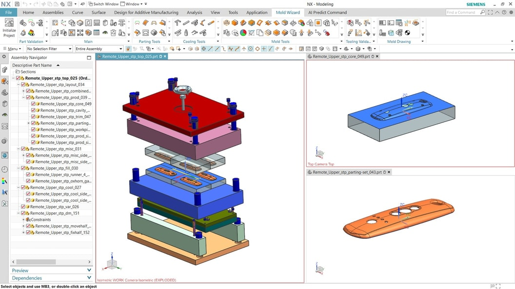 NX Mold Designer enables streamlining of the entire mold development process
