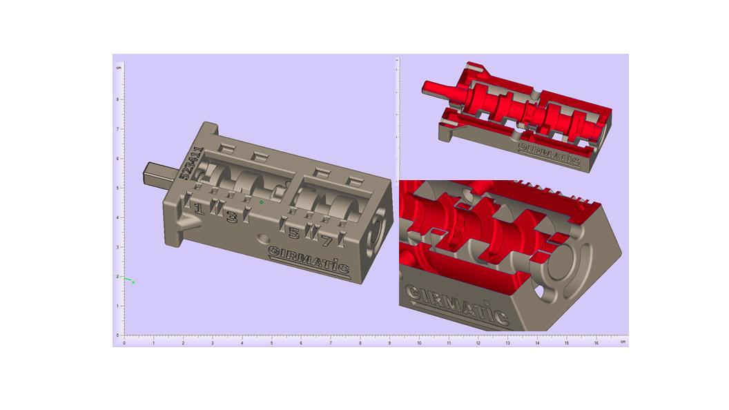 Abbildung 2: minimales Spaltmass 0.2mm zwischen Gehäuse und Schaltwelle für 8-fach Wähleinheit