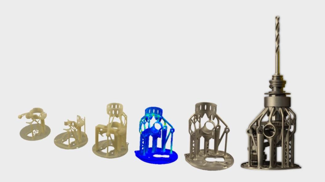 Mehrere Iterationen für das Getriebegehäuse mittels unterschiedlicher 3D-Druck-Technologien.