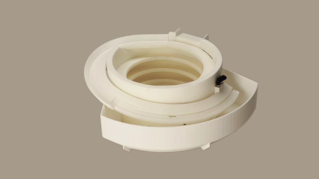 Fördertopf für Deckel (komplette Teileorientierung , integr. Blasdüsen, Sensorflansch, Rückführung)