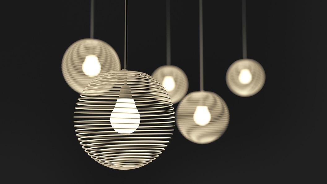 Die Spirallampe setzt als Hänge- oder Tischleuchte architektonische Azente. (Bild: echtmacherei)