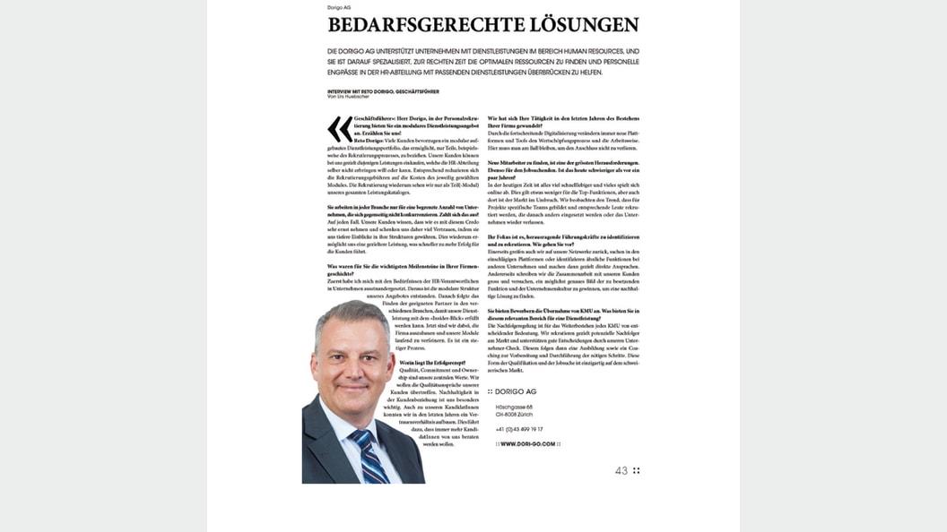 """Lesen Sie das Interview mit Reto Dorigo im """"Geschäftsführer Zürich"""""""