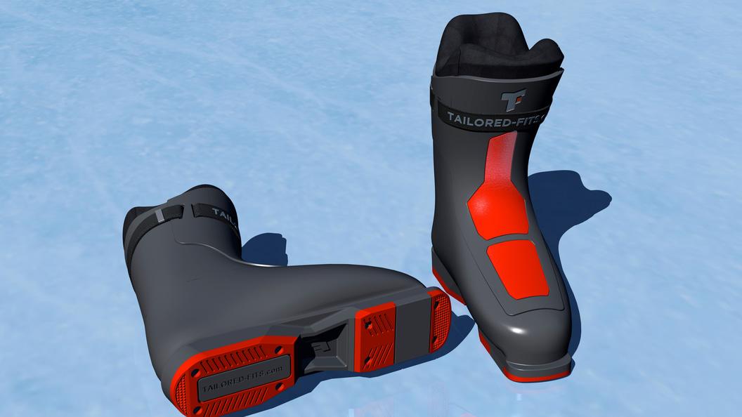 Zusammengesetzter Skischuh mit weichem Innenfutter und Hartschale ©Tailored Fits AG