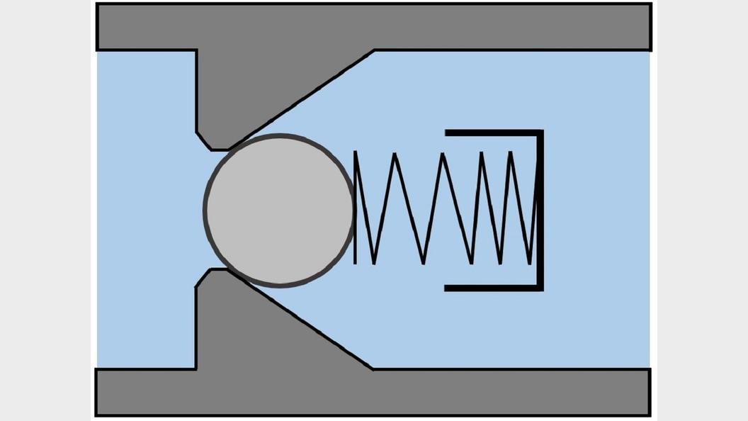 Kugelrückschlagventil in geschlossenen Zustand ©3D Druck Tech AG