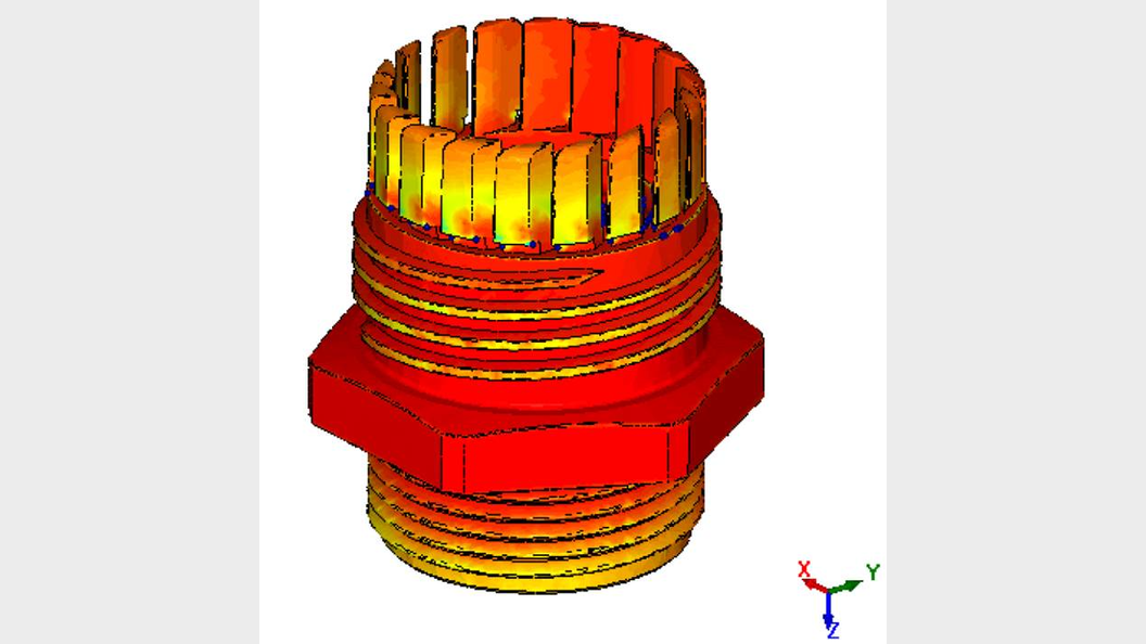 Filling simulation for socket: Temperature profile.