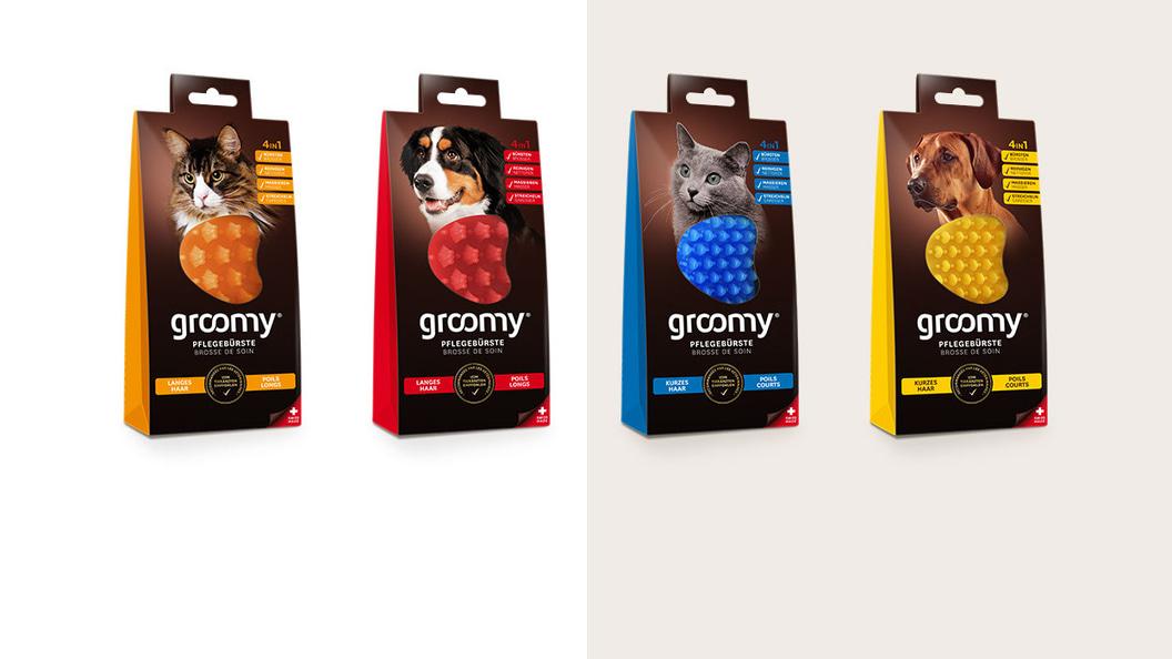 4 groomy® Wellnessbürsten für alle Katzen- und Hunderassen mit kurzem oder langem Fell.