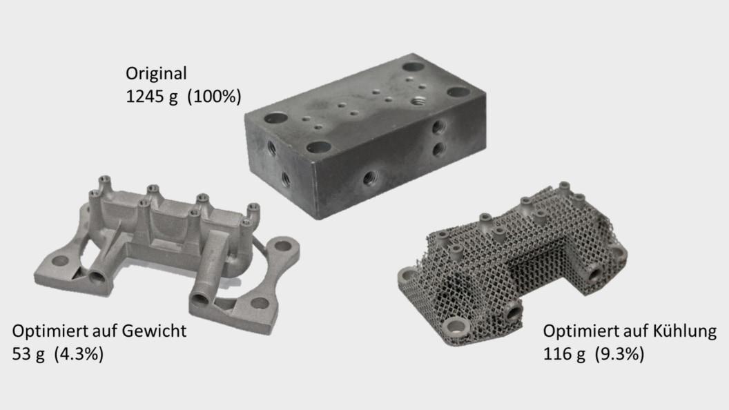 Optimierung Gewicht und Kühlung eines Hydraulikblocks (1.4404)