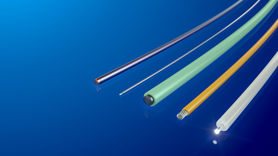 Various application areas as medical guide wires, electrodes or light guides